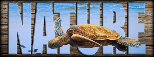 NATURE Sign - Clear Blue - Sea Turtle