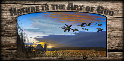 """Nature is the Art of God"" Sign - Sunset Crossing - Canada Goose"