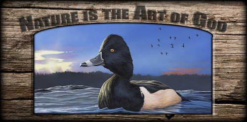 """Nature is the Art of God"" Sign - Ring-necked Duck"