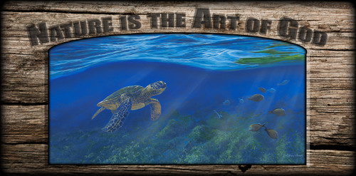 """Nature is the Art of God"" Sign - Big Island Flyway - Sea Turtle"