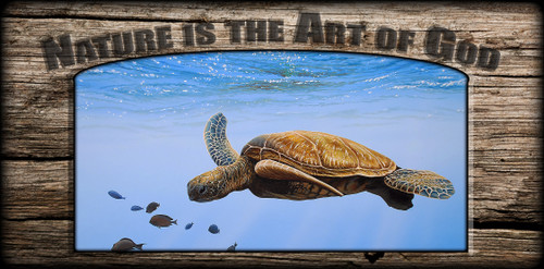 """Nature is the Art of God"" Sign - Clear Blue - Sea Turtle"
