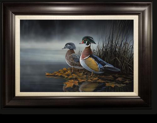 """Through the Mist at Daybreak"" - Wood Ducks Framed Canvas Print"