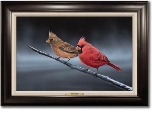 """Daybreak Cardinals"" - Framed Canvas Print"