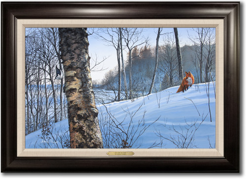 """Just Out of View"" - Fox Framed Canvas Print"