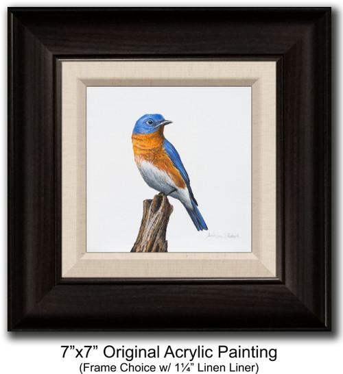 "7""x7"" Original Acrylic Painting - Bluebird"