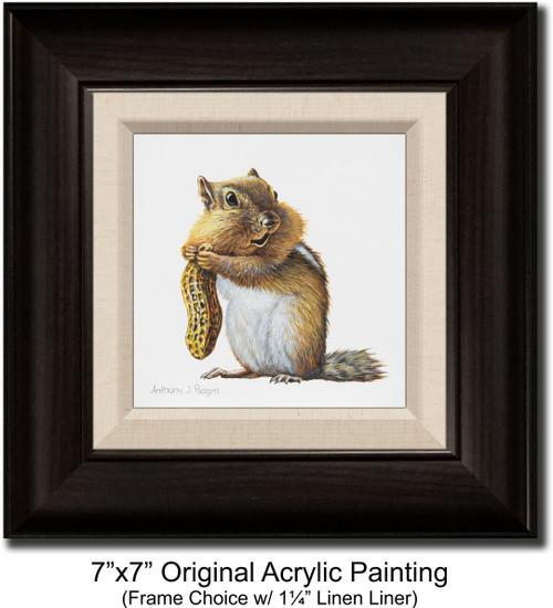 "7""x7"" Original Acrylic Painting - Chipmunk II"