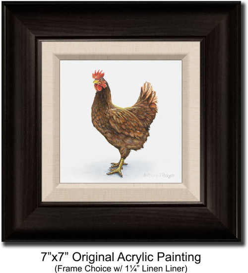 """7""""x7"""" Original Acrylic Painting - Rooster"""