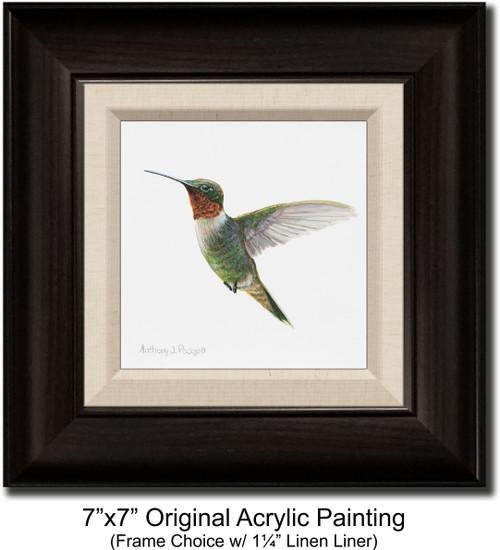 "7""x7"" Original Acrylic Painting - Hummingbird"