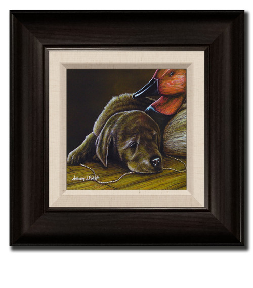 Small Canvas Print - Chocolate Lab Pup with Decoy