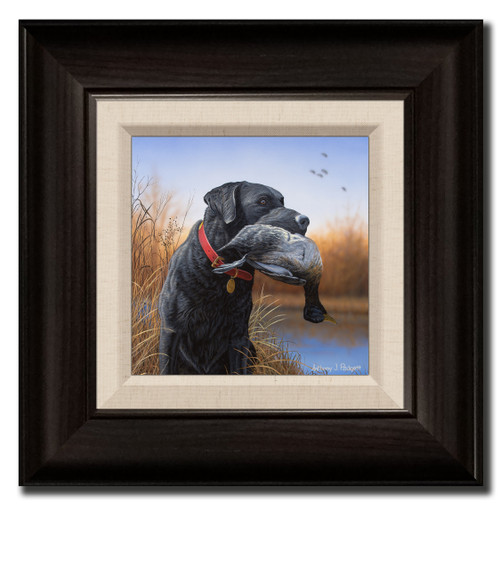Small Canvas Print - Morning Conquest - Black Lab
