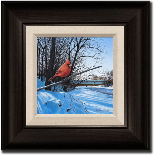 Small Canvas Print - Creekside Perch - Cardinal