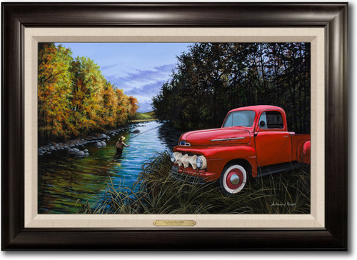 """""""Couple of Old Timers"""" -  Framed Canvas Print with Optional Truck Door Personalization"""