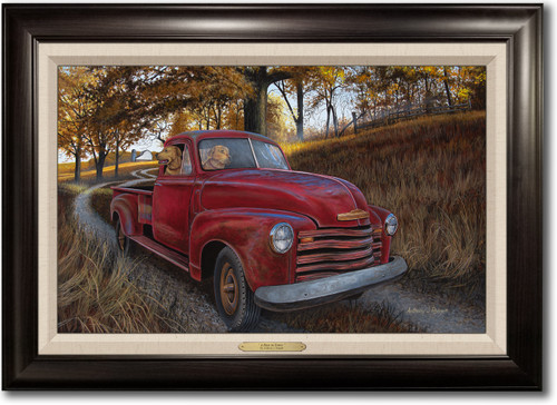 """""""A Ride to Town"""" -  Framed Canvas Print with Optional Truck Door Personalization"""