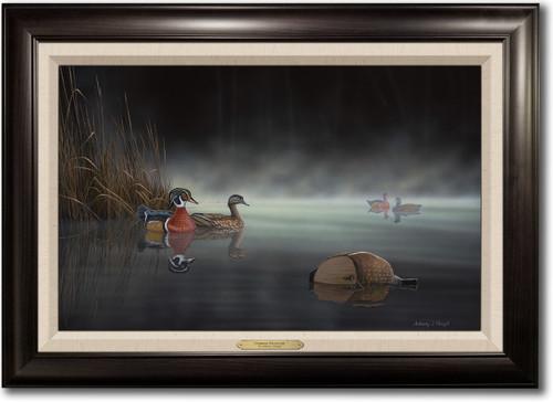 """Daybreak Encounter"" -  Framed Canvas Print w/ Optional Decoy Personalization"