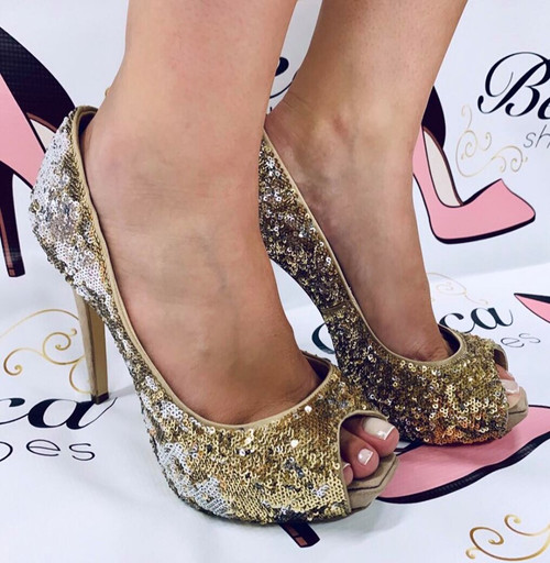 Peep Toe Cecconello Slver and Gold Paette