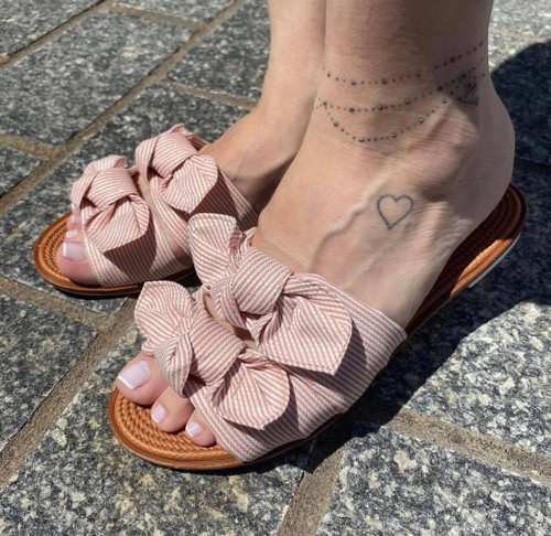 Light Pink Striped Flat Sandal with Bow