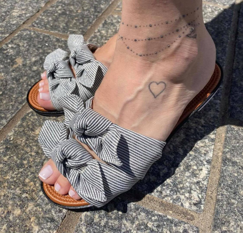 Black Striped Flat Sandal with Bow