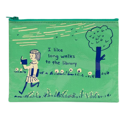 Zipper Pouch-Long Walks to the Library