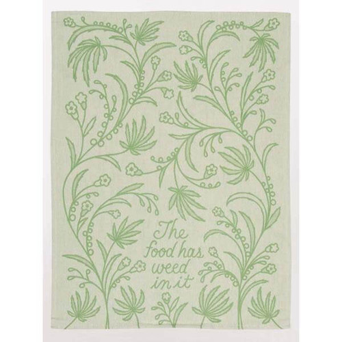 """Jaquard woven in shades of green. Thick and thirsty cotton.  28""""h x 21""""w"""