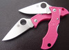 SPYDERCO LADYBUG 3 BRIGHT PINK FRN HANDLE. MODEL LPNP3. FFG VG-10 BLADE. CUTLERY SHOPPE EXCLUSIVE.