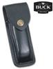 "BUCK KNIVES 0110BRSFG 110 FOLDING HUNTER W/FINGER GROOVE. 3.75"" PLAIN EDGE 420HC BLADE. CRELICAM® EBONY HANDLE W/BRASS BOLSTERS. BLACK LEATHER SHEATH SHOWN. CUTLERY SHOPPE"