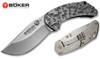 "Boker 110629 Minos - 3.125"" Plain Edge Blade – Titanium Handle – Pocket Clip - CUTLERY SHOPPE"