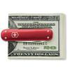 VICTORINOX SWISS ARMY MONEY CLIP KNIFE. MODEL 53739 RED ALOX. CUTLERY SHOPPE