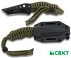 "CRKT 2030CW CRAWFORD TRIUMPH N.E.C.K. KNIFE. 2.75"" BLACK EDP COATED PLAIN EDGE BLADE.OD GREEN PARACORD HANDLE. BLACK MOLDED SHEATH. CUTLERY SHOPPE"