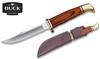"BUCK KNIVES 0102BRS WOODSMAN® FIXED BLADE KNIFE. 4.0"" PLAIN EDGE 420HC BLADE. COCOBOLO DYMALUX® HANDLE. BROWN LEATHER BELT SHEATH. CUTLERY SHOPPE"
