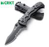 "CRKT 1093K Mini My Tighe Assisted Opening– 3"" Black Finish Veff Serration Edge Blade – Stainless and GFR Handle - CUTLERY SHOPPE"