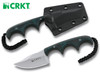 "CRKT 2387 MINIMALIST BOWIE NECK/UTILITY KNIFE. FOLTS DESIGN. 2.125"" BEAD BLAST FINISH PLAIN EDGE BLADE. GREEN RESIN INFUSED FIBER HANDLE. BLACK MOLDED SHEATH. CUTLERY SHOPPE"
