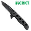 "CRKT M16-12ZLEK Carson Flipper – 3"" Black Finish Combo Edge Blade – GFR Handle"