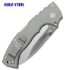 "COLD STEEL 62RN 4-MAX FOLDER W/TRI-AD LOCK. 4.0"" PLAIN EDGE CPM-20CV BLADE. GREY G-10 HANDLE W/TITANIUM LINERS & BACKSPACERS. SHOWN CLOSED - CLIP SIDE. CUTLERY SHOPPE"