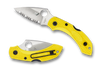 "SPYDERCO C28SYL2 DRAGONFLY 2 SALT. 2.25"" H-1 SERRATED EDGE BLADE. MARINE YELLOW FRN HANDLE. CUTLERY SHOPPE"
