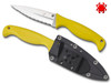 FB40YL, FB40SYL, FISH HUNTER, SERRATED EDGE H-1 BLADE, MARINE YELLOW FRN HANDLE, SPYDERCO, CUTLERY SHOPP
