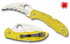 SPYDERCO C106SYL2 TASMAN SALT 2, H-1 BLADE STEEL, SERRATED EDGE, MARINE YELLOW FRN HANDLE, CUTLERY SHOPPE