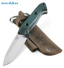 """Benchmade 162 Bushcrafter  4.40"""" Plain Edge CPM-S30V Blade Green G-10 Handle - Brown Leather Sheath 162 Cutlery Shoppe"""