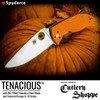 "SPYDERCO C122GPOR TENACIOUS FOLDER. 3.39"" SATIN FINISH 8Cr13MoV BLADE. ORANGE G-10 HANDLE. PHOTO BY SPYDERCO FOR CUTLERY SHOPPE EXCLUSIVE"