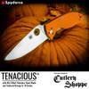 "SPYDERCO C122GPOR TENACIOUS FOLDER. 3.39"" SATIN FINISH 8Cr13MoV BLADE. ORANGE G-10 HANDLE. PHOTO BY SPYDERCO FOR CUTLERY SHOPPE EXCLUSIVE"