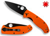 "SPYDERCO C122GPBOR TENACIOUS 3.39"" BLACK FINISH 8Cr13MoV BLADE. ORANGE G-10 HANDLE. CUTLERY SHOPPE EXCLUSIVE"