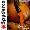 "SPYDERCO C122GPBOR TENACIOUS 3.39"" BLACK FINISH 8Cr13MoV BLADE. ORANGE G-10 HANDLE. PHOTOY BY SPYDERCO FOR CUTLERY SHOPPE EXCLUSIVE"