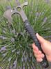 SPYDERCO H03 SZABO WARRIORHAWK. FULL TANG D-2 TOOL STEEL. SHOWN IN HAND. CUTLERY SHOPPE