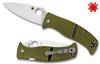 "Spyderco C217GP Caribbean Salt - 3.7"" Plain Edge Leaf Shaped Rustproof LC200N Blade - Layered Black/Green G-10 Handle - CUTLERY SHOPPE"