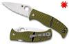 "Spyderco C217GS Caribbean Salt - 3.7"" Serrated Edge Leaf Shaped Rustproof LC200N Blade - Layered Black/Green G-10 Handle - CUTLERY SHOPPE"