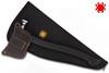 SPYDERCO H02 GENZOW HATCHETHAWK TOMAHAWK. 5160 TOOL STEEL HEAD. POLYPRO HANDLE. LEATHER SCABBARD. SHOWN IN CASE. CUTLERY SHOPPE