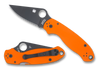 "SPYDERCO C223GPORBK PARA 3. 2.95"" BLACK DLC FINISH CTS-XHP BLADE. COMPRESSION LOCK. ORANGE G-10 HANDLE. CUTLERY SHOPPE"