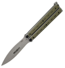 """Bradley BCC901 Kimura Butterfly Bali-Song Knife - 3.6"""" 154CM Blade - SS Handle w/OD Green G-10 Scales"""