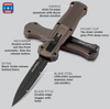 """BENCHMADE 3300BK-1901 INFIDEL OTF AUTOMATIC. 3.91"""" DOUBLE EDGE BLACK OXIDE FINISH CPM-S30V BLADE. BURNT BRONZE ANODIZED 6061-T6 HANDLE. CUTLERY SHOPPE"""