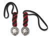 "Spyderco BEAD5LY Flat Pewter ""Bug"" Logo Bead w/ Red & Black Paracord Lanyard"