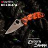 """SPYDERCO C11ZFPOR DELICA 4. 2.9"""" PLAIN EDGE HAP40/SUS410 BLADE. ORANGE/BLACK ZOME FRN HANDLE. CUTLERY SHOPPE EXCLUSIVE"""